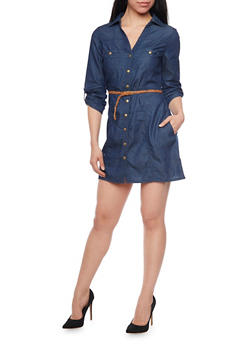 Tabbed Sleeeve Chambray Shirt Dress with Braided Belt - DARK WASH - 1090051062759
