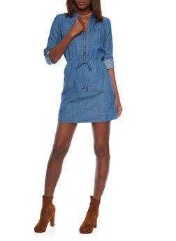 Rolled Cuff Denim Dress with Drawstring Waist - MEDIUM WASH - 1090051062846