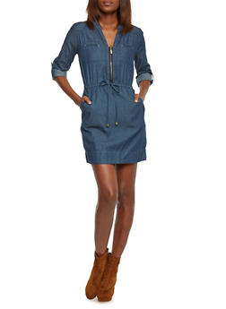 Rolled Cuff Denim Dress with Drawstring Waist - DARK WASH - 1090051062846