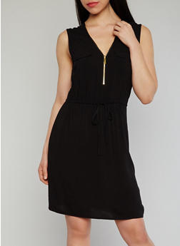 Sleeveless Zip V Neck Dress - 1090051062930