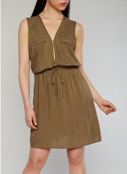 Sleeveless Zip V Neck Dress - OLIVE - 1090051062930