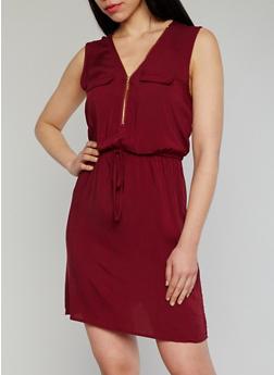 Sleeveless Zip V Neck Dress - 1090051062930