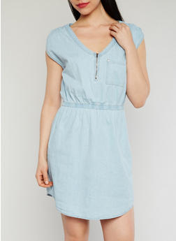 Cap Sleeve Denim Dress with Ruched Shoulders - 1090051062935