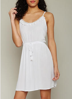 Sleeveless Crinkle Knit Sundress with Side Cut Outs - WHITE - 1090051062957