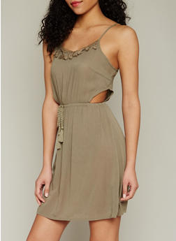 Sleeveless Crinkle Knit Sundress with Side Cut Outs - 1090051062957