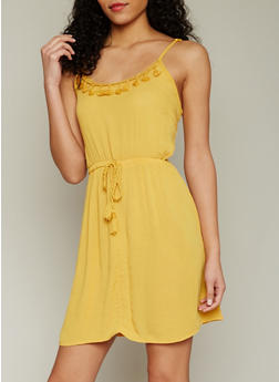 Sleeveless Crinkle Knit Sundress with Side Cut Outs - MUSTARD - 1090051062957