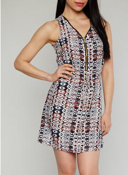 Printed Sleeveless Zip Front Dress with String Tie Belt - 1090051062971