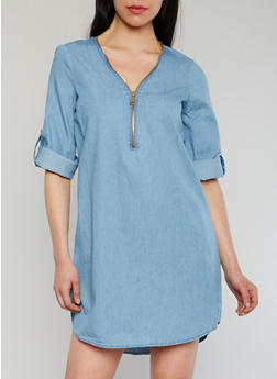 Half Zip Chambray Shift Dress with Tab Sleeves - 1090051062993