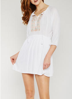 Gauze Knit Peasant Dress with Embroidered Detail - WHITE - 1090051063034