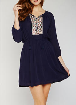 Gauze Knit Peasant Dress with Embroidered Detail - 1090051063034