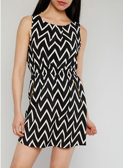Sleeveless Cinched Waist  Printed Dress - BLACK/WHITE - 1090051063035