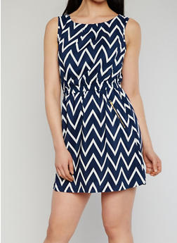 Printed Sleeveless Cinched Waist Dress - NAVY - 1090051063035