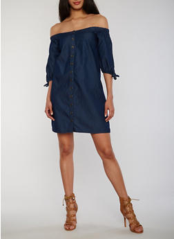 Off the Shoulder Button Front Denim Dress - 1090051063040
