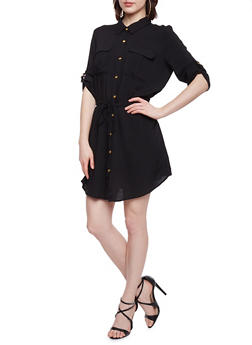 Button Up Shirt Dress with Cinched Waist and Drawstring - BLACK - 1090051063061