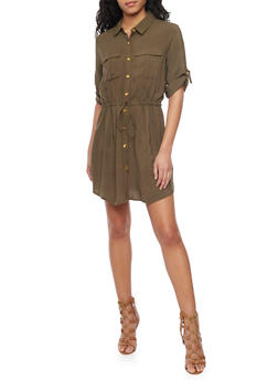 Button Up Shirt Dress with Cinched Waist and Drawstring - 1090051063061