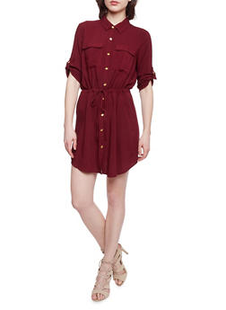 Button Front Shirt Dress with Cinched Waist - BURGUNDY - 1090051063061