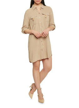 Mid Length Tabbed Sleeve Shirt Dress - 1090051063062