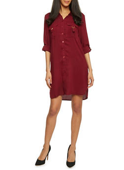 Mid Length Tabbed Sleeve Shirt Dress - BURGUNDY - 1090051063062