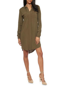 Solid High Low Shirt Dress - 1090051063063