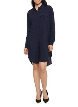Solid High Low Shirt Dress - 1090051063063