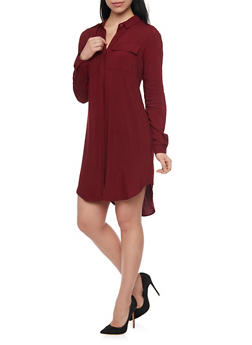 2 Pocket High Low Shirt Dress - 1090051063063