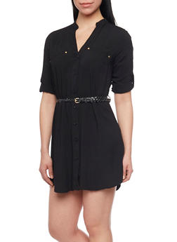 Button Down Belted Shirt Dress with Tab Sleeves - BLACK - 1090051063064