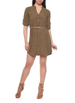 Button Down Belted Shirt Dress with Tab Sleeves - OLIVE - 1090051063064