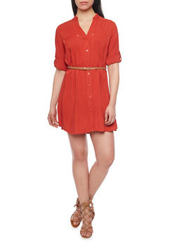 Button Down Belted Shirt Dress with Tab Sleeves - 1090051063064