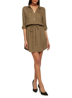 Cinched Waist Shirt Dress with Tabbed Sleeves - OLIVE - 1090051063065