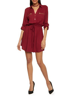 Cinched Waist Shirt Dress with Tabbed Sleeves - BURGUNDY - 1090051063065