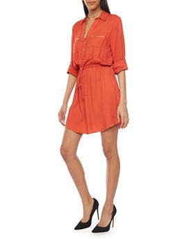 Cinched Waist Shirt Dress with Tabbed Sleeves - 1090051063065