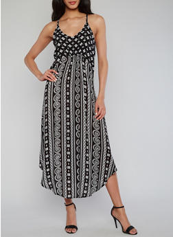 Sleeveless Printed Empire Waist Sundress - 1090051063068