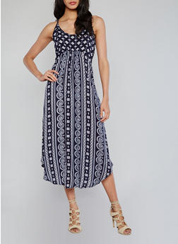 Sleeveless Printed Empire Waist Sundress - 1090051063068
