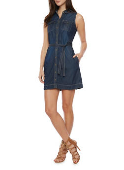 Sleeveless Chambray Shirt Dress - DARK WASH - 1090051063069
