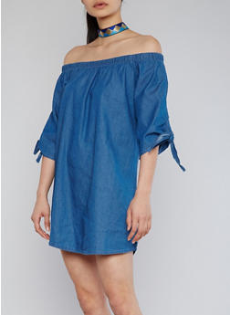 Off The Shoulder Denim Dress with 3/4 Tied Sleeves - MEDIUM WASH - 1090051063092