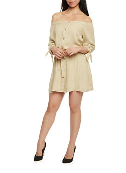 Off The Shoulder Button Front Shirt Dress with Drawstring Waist - 1090051063095