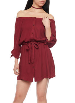 Off The Shoulder Button Front Peasant Dress with Drawstring Waist - 1090051063095