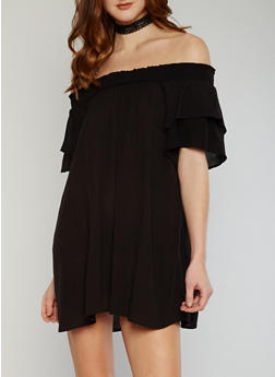Smocked Off the Shoulder Shift Dress with Double Layered Flutter Sleeves - BLACK - 1090051063096