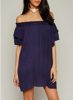 Smocked Off the Shoulder Shift Dress with Double Layered Flutter Sleeves - 1090051063096