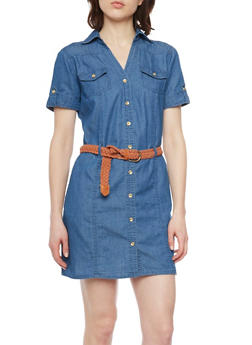 Denim Short Sleeve Shirt Dress with Braided Belt - LIGHT WASH - 1090051063108