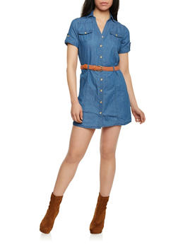 Denim Short Sleeve Shirt Dress with Braided Belt - MEDIUM WASH - 1090051063108