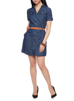 Denim Short Sleeve Shirt Dress with Braided Belt - DARK WASH - 1090051063108