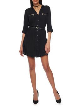 Belted Long Sleeve Button Up Shirt Dress - BLACK - 1090051063109