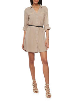 Belted Long Sleeve Button Up Shirt Dress - 1090051063109