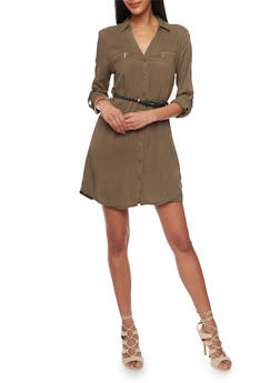 Belted Long Sleeve Button Up Shirt Dress - OLIVE - 1090051063109
