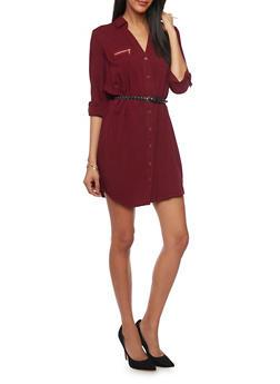 Belted Long Sleeve Button Up Shirt Dress - 1090051063109