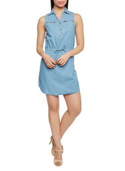 Sleeveless Denim Shirt Dress With Zipper Pockets - 1090051063137