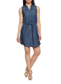 Sleeveless Denim Shirt Dress With Zipper Pockets - DARK WASH - 1090051063137