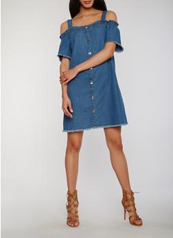 Cold Shoulder Button Front Denim Dress with Frayed Trim - 1090051063173