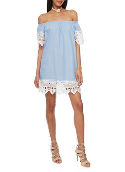 Chambray Off the Shoulder Shift Dress with Crochet Trim - 1090051063200
